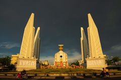 Bangkok, Thailand - May 3, 2019 : The Democracy Monument Anusawari Prachathipatai. It was started in 1939 to commemorate the. 1932 revolution that introduced royalty free stock photo