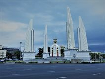 Bangkok,Thailand,May 27,2019:Democracy Monument.Monument Landmark.Bowon Niwet, Phra Nakhon.The democracy monument is in the middle. Of a roundabout, at a majors stock photography