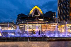 Bangkok,Thailand-8 May 2019:Iconic Multimedia Water Features with dancing fountain show in Iconsiam,the longest water dance in royalty free stock photography