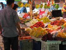 Bangkok,Thailand, on May 26, 2018, Ladprao fresh food market, pe. Ople buy and selling things at fresh market, showing finanial situation in thailand deal to the Royalty Free Stock Photos