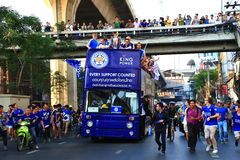 Bangkok, THAILAND - May 19, 2016: Leicester City arrive in Bangkok to heroes on Sukhumvit Road in May 19, 2016. Bangkok, Thailand. Bangkok, THAILAND - May 19 Royalty Free Stock Images