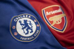BANGKOK, THAILAND - MAY 11: The Logo of  Chelsea and  Arsenal on Football Jerseys on May 11,2019. They will Face Each other on