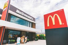 Bangkok, Thailand - May 24, 2018: McDonald`s logo and exterior at 24 hours open branch, day time scene Royalty Free Stock Images