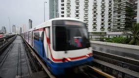 Bangkok, Thailand - May 29, 2018 : Metro train arrives at a station in bangkok.  stock video footage