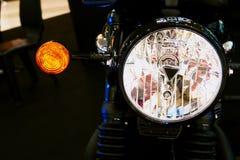 Bangkok,thailand- May 12, 2019:Motor bike detail-A triumph motorcycle was showed in Motorcycle shop stock image