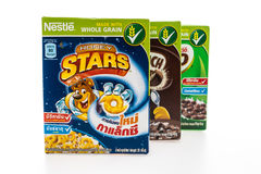 BANGKOK, THAILAND - MAY 27, 2016 : Nestle cereal box isolated on Stock Photos