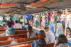 BANGKOK, THAILAND - MAY 12, 2015: people travel by boat in Bangkok, Thailand. Chao Phraya is a major river in Thailand Royalty Free Stock Photography