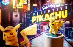 Pokemon Detective Pikachu movie standee in front of theatre to promote movie. Bangkok, Thailand - May 4, 2019 : A photo of Pokemon Detective Pikachu movie stock image