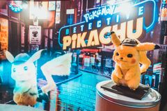 Bangkok, Thailand - May 2, 2019: Pikachu doll display by Pokemon Detective Pikachu animation movie backdrop in movie theatre. Cartoon comic character, or stock photo