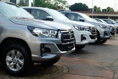 Bangkok, Thailand - May 13, 2018 :Row of New Pickup Trucks For Sale, Toyota Hilux Revo 2018 royalty free stock image