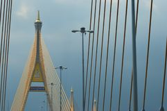 Bangkok/Thailand-May132018: It`s a bridge that was designed by Thailand King rama 9. Bangkok/Thailand-May13, 2018: It`s a bridge that was designed by Thailand stock photo