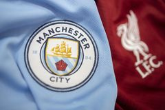 BANGKOK, THAILAND - MAY 11: Selective Focus on The Logo of Manchester City and Blured  Liverpool on Football Jerseys on May 11,