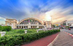 Bangkok Grand Central Terminal Railway Station in sunset Royalty Free Stock Images