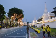 Thai people watching LED and bulb decoration on Ratchadamnoen road in coronation of king Rama 10 at. Bangkok Thailand May 6 ,2019 : Thai people watching LED and stock image