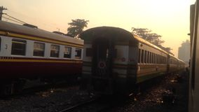 BANGKOK, THAILAND - MAY 1, 2017: At Thonburi Train Station, Train ThonburiฺBangkok-NamtokKanchanaburi is leaving the station,B stock footage