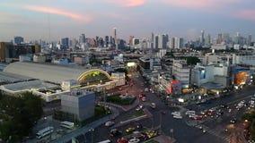 Bangkok,Thailand - May 15,2018: Time-lapse day jam road at hualumpong station ,Bangkok Railway Station or Hua Lamphong Station. Is the main railway station in stock footage