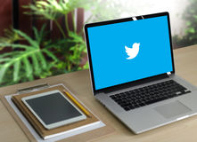 BANGKOK, THAILAND - MAY 17, 2016 :  Twitter application,  logo o. N the screen ,  social networking service and website Computer Browsing Website Royalty Free Stock Photo