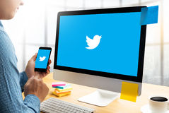 BANGKOK, THAILAND - MAY 17, 2016 :  Twitter application,  logo o. N the screen ,  social networking service and website Computer Browsing Website Stock Image
