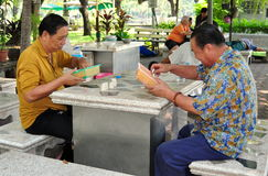 Bangkok, Thailand: Men Playing Checkers Royalty Free Stock Images