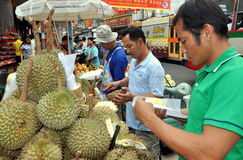 Bangkok, Thailand: Men Selling Durian Fruit Royalty Free Stock Photo