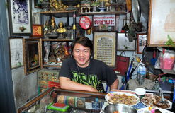 Bangkok, Thailand: Merchant at Maha Rat Market Royalty Free Stock Photography