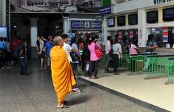 Bangkok, Thailand: Monk at Railway Station Royalty Free Stock Photography