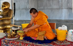 Bangkok, Thailand: Monk at Wat Tramit Stock Photo
