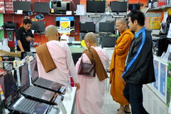 Bangkok, Thailand: Monks at Computer Store Royalty Free Stock Photo