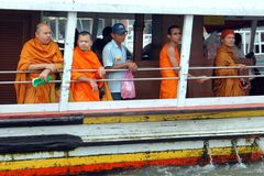 Bangkok, Thailand: Monks on River Boat Stock Image