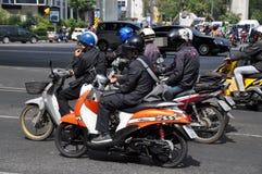 Bangkok,Thailand: Motorcyclists on Ratchadamri Royalty Free Stock Photos