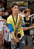 Bangkok, Thailand: Musicus op de Weg van Khao San Royalty-vrije Stock Foto's