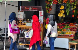 Bangkok, Thailand: Muslim Women at Market Stock Images