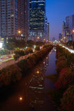 Bangkok Thailand at night. With busy road and modern highrise buildings Royalty Free Stock Photography