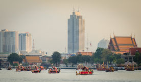 BANGKOK,THAILAND-NO VEMBER 9:Decorated barge parades past the Grand Palace at the Chao Phraya River during Fry the Kathina ceremon Stock Photo