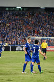 BANGKOK THAILAND NOV12 2015 :Chanathip Songkrasin(L) of in actio. N Thailand during the Fifa World Cup Group F qualifying Match between Thailand and Chinese royalty free stock photo