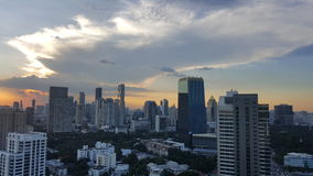 BANGKOK, THAILAND - NOV 14, 2016 : Cityscape before sunset in winter, Sathorn, Bangkok, Thailand. Bangkok cityscape view at twilig. Ht Royalty Free Stock Images