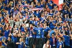 BANGKOK THAILAND NOV12: 2015 nicht identifizierte Fans Thailand-Unterstützung Stockbilder