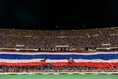 BANGKOK THAILAND NOV12: 2015 nicht identifizierte Fans Thailand-Unterstützung Lizenzfreies Stockbild