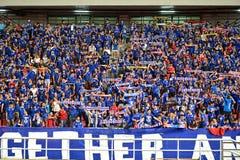 BANGKOK THAILAND NOV12: 2015 nicht identifizierte Fans Thailand-Unterstützung Lizenzfreie Stockbilder