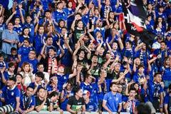 BANGKOK THAILAND NOV12: 2015 nicht identifizierte Fans Thailand-Unterstützung Lizenzfreies Stockfoto