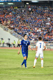 BANGKOK THAILAND NOV12 2015 :Suttinan Puk-hom(L) of in action. Thailand  during the Fifa World Cup Group F qualifying Match between Thailand and Chinese Taipei Royalty Free Stock Photography