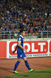 BANGKOK THAILAND NOV12 2015 :Teerathon boonmatan(L) of in action. Thailand  during the Fifa World Cup Group F qualifying Match between Thailand and Chinese Royalty Free Stock Image