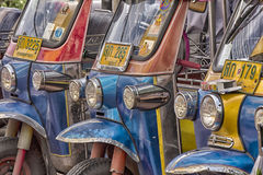 BANGKOK, THAILAND-Nov 10TH: Tuk tuks lined up in Bangkok on Nove Stock Photo