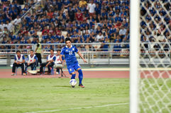 BANGKOK THAILAND NOV12 2015 :Thana Chanabut(L) of in action Thai. Land  during the Fifa World Cup Group F qualifying Match between Thailand and Chinese Taipei at Royalty Free Stock Photography