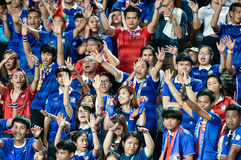 BANGKOK THAILAND NOV12: 2015 Unidentified fans of Thailand suppo Stock Photography
