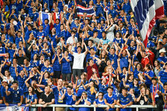 BANGKOK THAILAND NOV12: 2015 Unidentified fans of Thailand support. Ers celebrate during the Fifa World Cup Group F qualifying Match between Thailand and Chinese Stock Photo