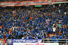 BANGKOK THAILAND NOV12: 2015 Unidentified fans of Thailand support. Ers celebrate during the Fifa World Cup Group F qualifying Match between Thailand and Chinese Stock Photos