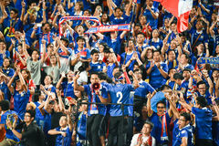 BANGKOK THAILAND NOV12: 2015 Unidentified fans of Thailand support Stock Images
