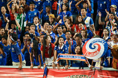 BANGKOK THAILAND NOV12: 2015 Unidentified fans of Thailand support. Ers during the Fifa World Cup Group F qualifying Match between Thailand and Chinese Taipei at Stock Photography