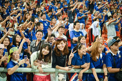 BANGKOK THAILAND NOV12: 2015 Unidentified fans of Thailand support. Ers during the Fifa World Cup Group F qualifying Match between Thailand and Chinese Taipei at Stock Images